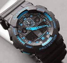 Спортивные наручные часы Casio G-Shock ga-100 Black-Blue Касио реплика, фото 3