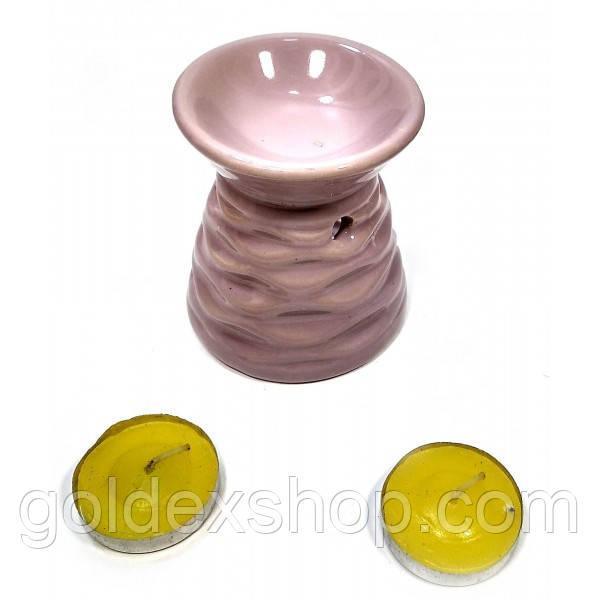Аромалампа керамическая, подарочный набор сиреневая (13х8х7,5 см)