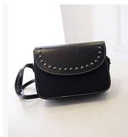Женская мини сумочка с заклепками черная, фото 1