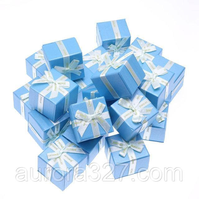 "Коробочка под кольцо и серьги ""Jewelry голубая 5,4 х 5,4 х 4,5 см"""