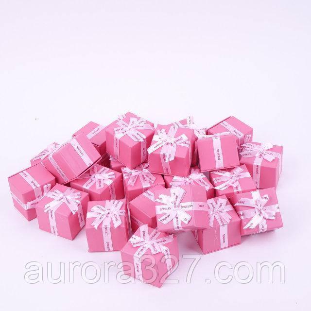 "Коробочка под кольцо и серьги ""Jewelry розовая 5,4 х 5,4 х 4,5 см"""