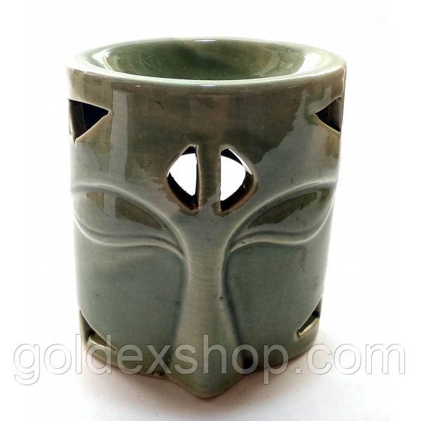 Аромалампа керамическая зеленая (10х8х6 см)