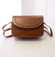 Жіноча міні сумочка з заклепками руда, фото 1