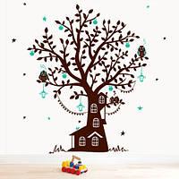 Детская виниловая наклейка на обои Лесной дом (ПВХ наклейки стикеры декор наклейки деревья) матовая 920х1200