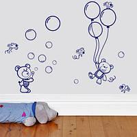 Наклейка виниловая интерьерная детская Мишки с шариками (самоклеющаяся) матовая миша с шариками 420х1100 мм стоящий миша 250х383 мм, фото 1