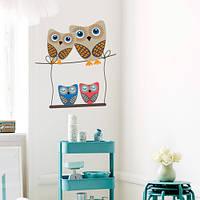 Виниловая интерьерная наклейка в детскую комнату Четыре совы (детские наклейки птицы)