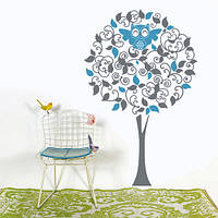 Интерьерная виниловая наклейка Дерево с совой (наклейки на стену в детскую комнату)