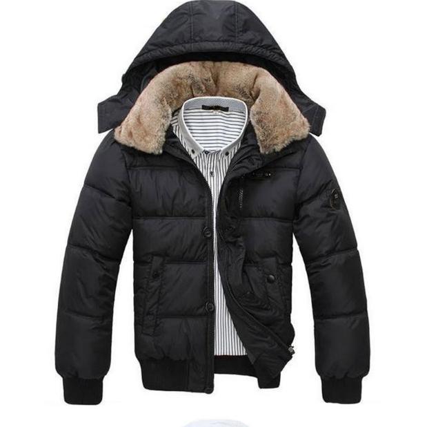 Мужская теплая куртка с меховым воротником (01148)