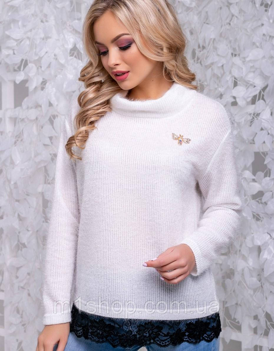 Женский свитер из ангоры-травки с кружевом (2837-2839-2828 svt)