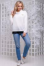 Женский свитер из ангоры-травки с кружевом (2837-2839-2828 svt), фото 2