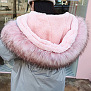 Куртка парка женская с розовым мехом  (серо-голубая), фото 3