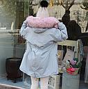 Куртка парка женская с розовым мехом  (серо-голубая), фото 2