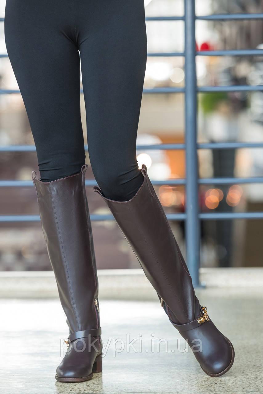 b1dc82a3b659 Сапоги зимние высокие трубы женские классика кожаные цвет коричневый  шоколад, сапоги харьковской фабрики -