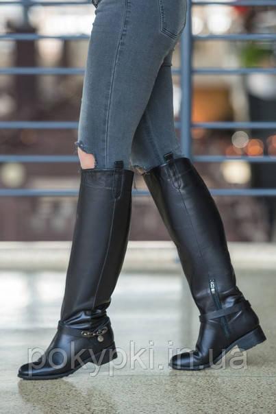 Шикарные зимние сапоги женские кожаные черные до колен зимние каблук 5 см,  сапоги с высоким 456ed75342c