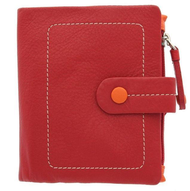 Женский кошелек кожаный красный Visconti M-77 red/multi