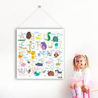 Виниловый плакат баннер Английский алфавит (наклейки детские обучающие подвесная азбука буквы животные) матовая , фото 1
