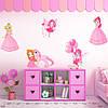 Набор интерьерных виниловых наклеек для девочки Принцессы и Феи Розовый набор стикеров матовая