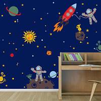 Интерьерная декоративная наклейка Космонавты (детские наборы виниловых наклеек)