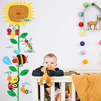 Виниловая декоративная наклейка Подсолнух Ростомер (линейка роста, наклейка на стену в детскую)