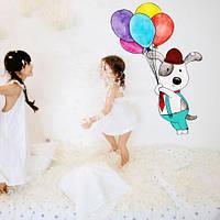 Интерьерная наклейка в детскую Мечтатель (самоклеющаяся пленка, собака)