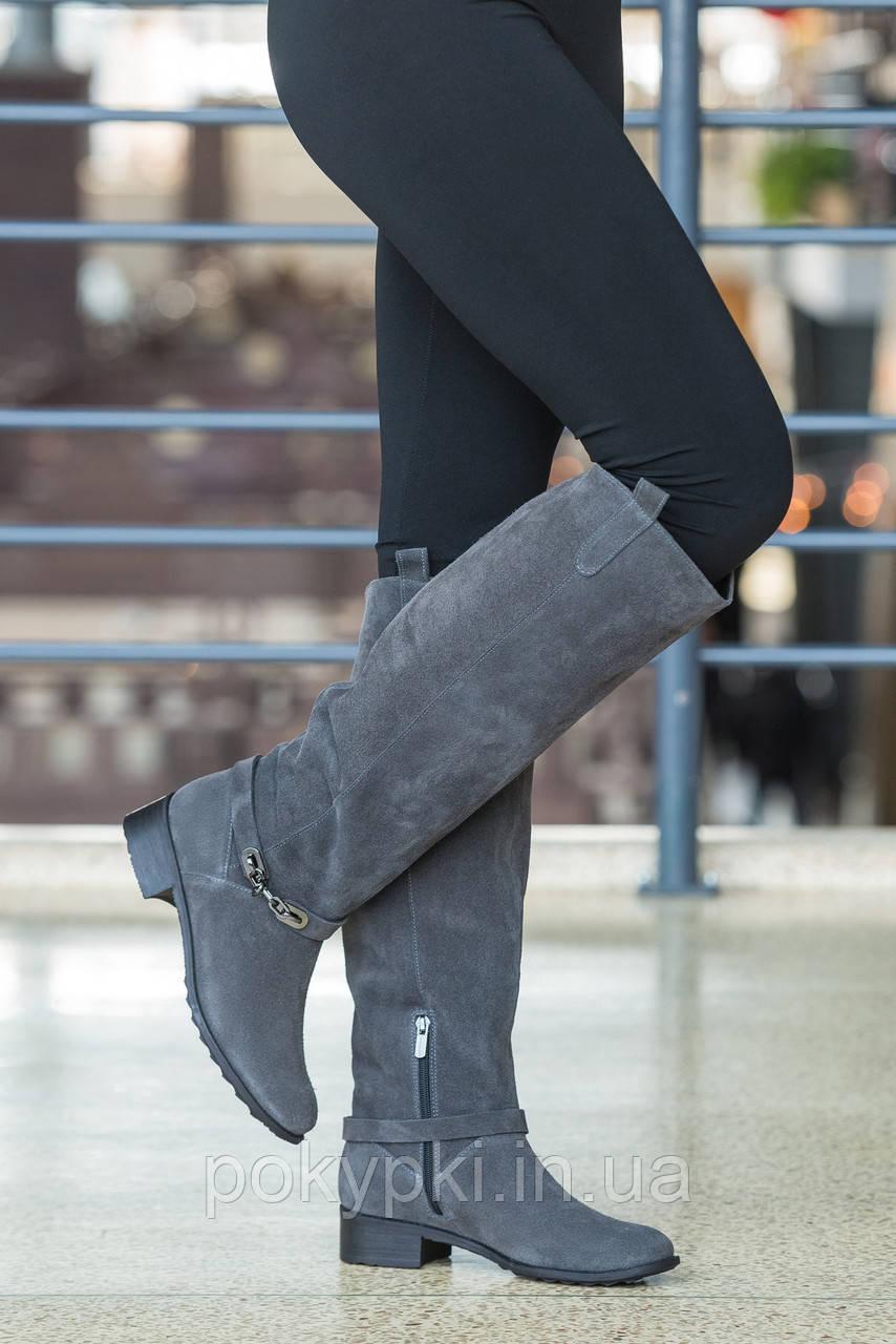 5109b1089411 Хорошие сапоги женские высокие зимние евро мех удобный широкий каблук 5 см  натуральная замша цвет серый