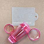 Прозрачный силиконовый штамп двойной с скрапером.