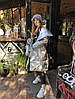 Пуховик-одеяло серебряный с варежками L/XL, фото 8