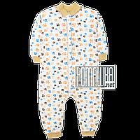 Детский спальник р 86 7 8 9 месяцев слип человечек пижама спальный комбинезон для сна ИНТЕРЛОК 4448 Коричневый