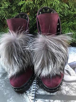Замшевые ботинки со шнуровкой и съемным мехом 36-40 р, фото 2