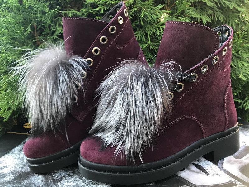 Замшевые ботинки со шнуровкой и съемным мехом 36-40 р