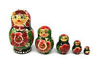 Сувенирная игрушка из дерева Матрешка 5 в 1 Цветы