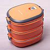 Ланч бокс тройной Kamille Оранжевый 2700мл для обедов из плстика и нержавеющей стали KM-2110, фото 8