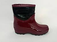 Женские резиновые ботинки бордового цвета, фото 1