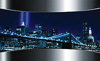 Фотообои 3D город Нью-Йорк (флизелин 416х254, бумага 368х254) Бруклинский мост в синих цветах (2207)