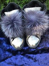 Женские кожаные ботинки с меховым помпоном 36-40 р, фото 2
