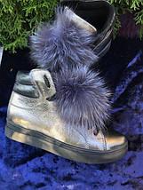 Женские кожаные ботинки с меховым помпоном 36-40 р, фото 3