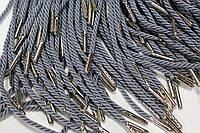 Шнурки канат 4мм (серый)с металлическим наконечником (никель) (1.25м), фото 1