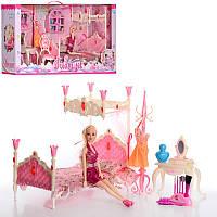 Спальня для куклы 889-1, кукла 29см, шарнирная, аксессуары, в кор-ке, 66,5-35-19см