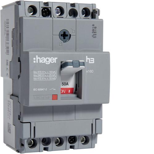 Вимикач автоматичний 3p, 50А, 18kA (HDA050L) Hager