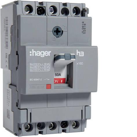 Вимикач автоматичний 3p, 50А, 18kA (HDA050L) Hager, фото 2