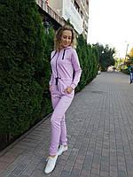 Стильный женский спортивный комбинезон с капюшоном сиреневый