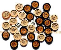 Фишки для нард деревянные с кожаными вставками