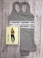 Набор спортивный Calvin Klein (топ+леггинсы), серый S