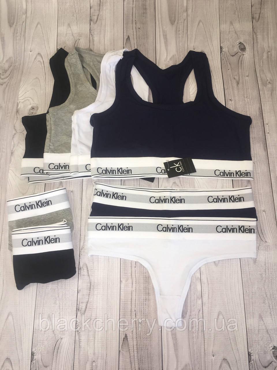 Набор женский Calvin Klein (топ+стринги), черный L (Люкс качество)