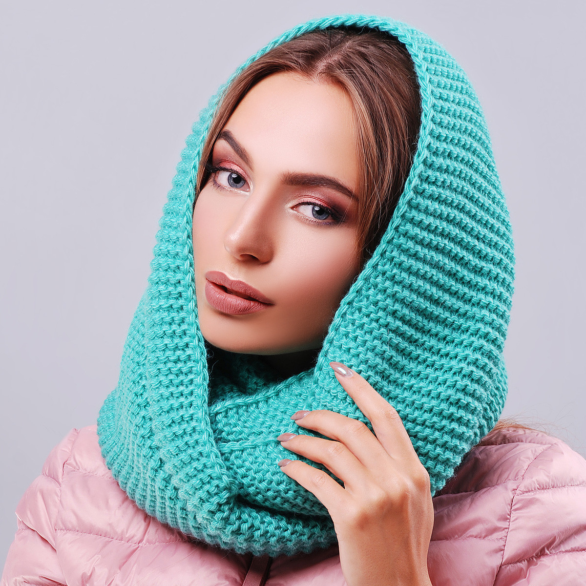 Женские теплые шарфы-хомуты
