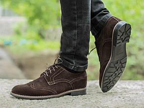 Мужские туфли Броги, Коричневые, Натуральный Замш, Подкладка: кожа