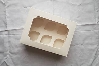 """Картонная коробка для капкейков """"Белая на 6 шт. с окном"""" (5 шт)"""