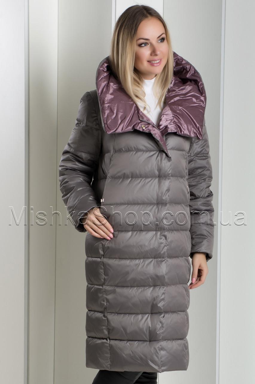 Красивый зимний пуховик с яркой подкладкой BatterFlei 1881 цвета мокко