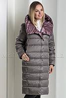 Красивый зимний пуховик с яркой подкладкой BatterFlei 1881 цвета мокко, фото 1