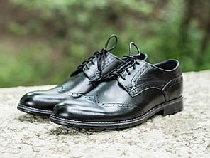 Мужские туфли Броги, Черные, Натуральная кожа, Подкладка: кожа